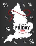 Black Friday mapa - Anglia biel ilustracji