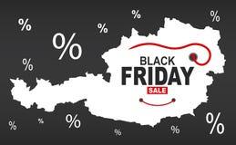 Black Friday mapa - Austria biel royalty ilustracja