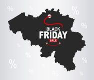 Black Friday mapa - Belgia ilustracji