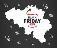 Black Friday mapa - Belgia biel ilustracji