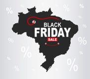Black Friday mapa - Brazylia royalty ilustracja