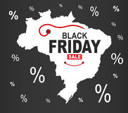 Black Friday mapa - Brazylia biel royalty ilustracja