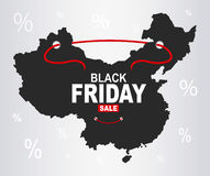 Black Friday mapa - Chiny royalty ilustracja
