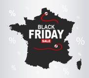 Black Friday mapa - Francja ilustracji