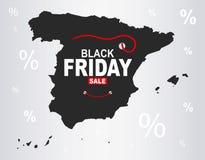 Black Friday mapa - Hiszpania ilustracja wektor