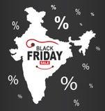 Black Friday mapa - India biel royalty ilustracja