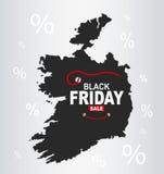 Black Friday mapa - Irlandia ilustracji