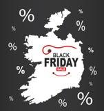 Black Friday mapa - Irlandia biel royalty ilustracja