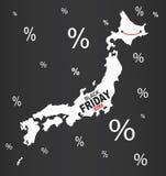 Black Friday mapa - Japonia biel Obraz Stock