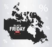 Black Friday mapa - Kanada ilustracja wektor