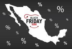 Black Friday mapa - Meksyk biel ilustracji