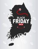 Black Friday mapa - Południowy Korea ilustracji