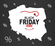 Black Friday mapa - Polska biel ilustracja wektor