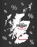 Black Friday mapa - Szkocja biel ilustracja wektor