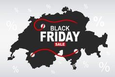 Black Friday mapa - Szwajcaria ilustracja wektor