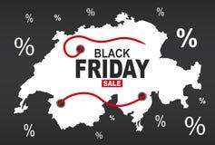 Black Friday mapa - Szwajcaria biel ilustracji