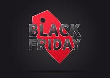 Black Friday med den röda prislappvektorillustrationen stock illustrationer