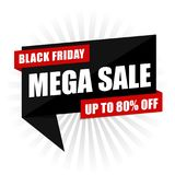 Black Friday Mega Sale Sign. Eps10 Vector for commercial promotion campaign Stock Photos