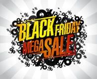Black friday mega sale, vector banner Stock Image