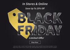 Black Friday mit Gold-Preisvektorillustration Stockfoto