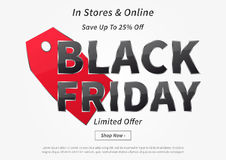 Black Friday mit roter Preisvektorillustration Stockbilder