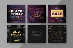 Black Friday modern promotion square web banner for social media royalty free illustration