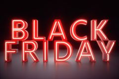 Black Friday - The Most Expected Sale of the Year. Neon Red 3D banner. Grand Discounts. Only once a year, maximum. Discounts. Sales, joy, success. 3D stock illustration