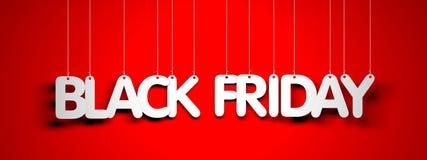 Black Friday - mots blancs sur le fond rouge illustration de vecteur