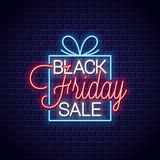 Black friday neon banner. Gift box sale neon sign on wall background. 10 eps vector illustration