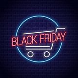 Black friday neon banner. Shopping cart for black friday sale neon sign. On wall background 10 eps vector illustration