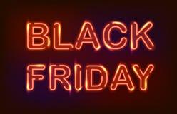 Black friday neon light. Black friday red neon light sign on dark background stock illustration