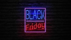 Black Friday neon light on wall. Sale banner blinking neon sign style for promo video. concept of sale and clearance