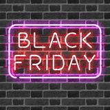 BLACK FRIDAY neon sign in frame Royalty Free Stock Photos