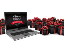 Black Friday Notebook Black Gifts Stock Photo