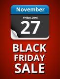 Black Friday. 27 november 2015 Calendar date page, vector illustration Stock Image