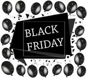 Black Friday 2017, 24 November De banner, malplaatje met zwarte ballon en bestrooit achtergrond Stock Afbeeldingen