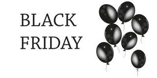 Black Friday 2017, 24 November De banner, malplaatje met zwarte ballon en bestrooit achtergrond Stock Foto