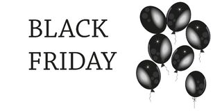 Black Friday 2017, November 24th. Banner, template with black balloon and sprinkles background Stock Photo