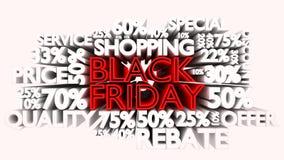 Black Friday odsetka i słowa rabata znaki Ilustracja Wektor