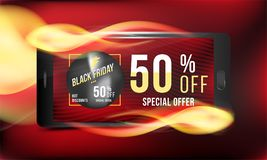 Black Friday 50 off discount. Concept advertising poster super sale with smartphone and banner with hot discounts and realistic fi. Re with light effects on a Stock Photo