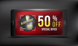 Black Friday 50 off discount. Concept advertising poster super sale of with smartphone on a dark and red background. Vector illust. Ration EPS 10 Royalty Free Stock Photos