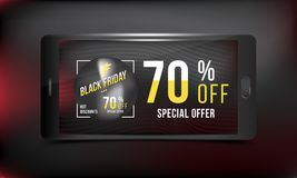 Black Friday 70 off discount. Concept advertising poster super sale of with smartphone on a dark and red background. Vector illust. Ration EPS 10 Vector Illustration