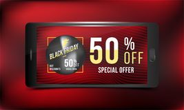 Black Friday 50 off discount. Concept advertising poster super sale of with smartphone on a dark and red background. Vector illust. Ration EPS 10 Stock Photo