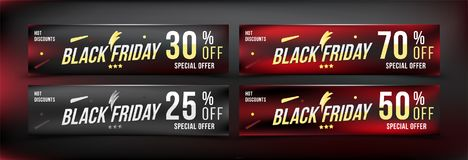 Black Friday 25 - 70 off discount. Set banners in horizontal format. Special offer, template for print and web advertising. Poster. And flyer on dark background Royalty Free Stock Photography