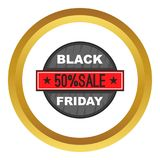 Black Friday 50 off icon. In golden circle, cartoon style isolated on white background vector illustration