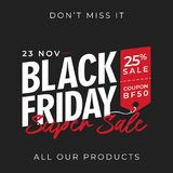 Black friday 50% off super sale banner background with price tag symbol. online shop flyer promotion template design. vector illus. Black friday 50% off super Vector Illustration