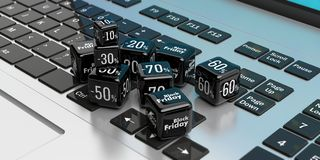 Black Friday online-försäljning Svarta försäljningskuber på en bärbar dator illustration 3d Fotografering för Bildbyråer