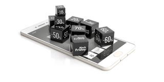 Black Friday online sale. Sale cubes on a smartphone. 3d illustration. Black Friday online sale concept. Sale cubes on a smartphone, white background. 3d Stock Photography
