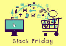 Black Friday online-shopping Royaltyfri Bild