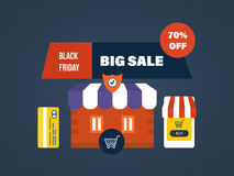 Black Friday, online shopping, secure payment, special offers and discounts. Stock Images